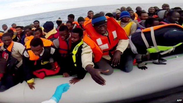 Rescue operation in Mediterranean