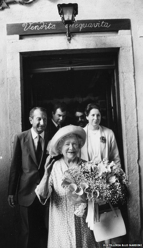The late Queen Mother visits the Nardini grapperia