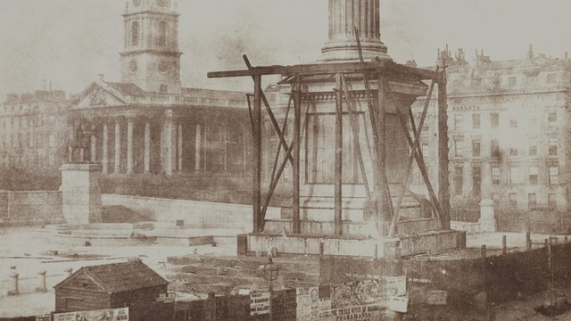 William Fox Talbot's photo of Nelson's Column under construction, 1844
