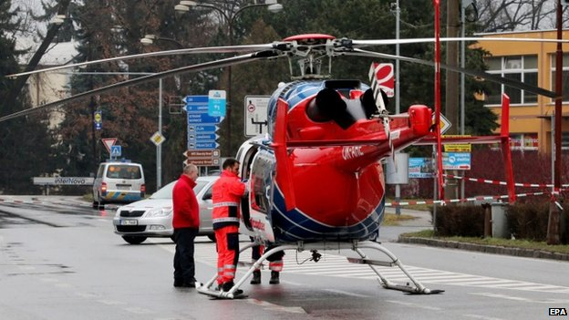 A helicopter at the scene of a gun rampage in the Czech Republic