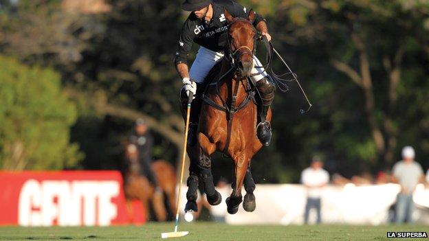A polo player at La Superba