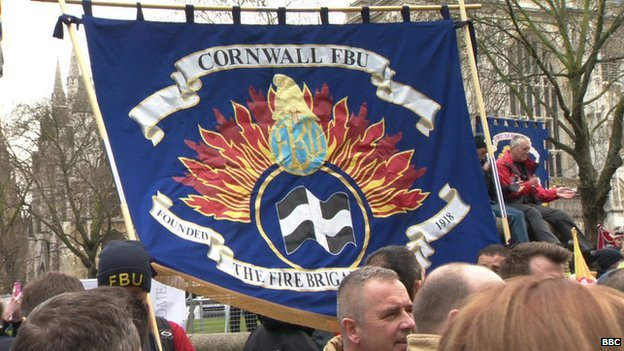 Cornwall FBU at Westminister Rally