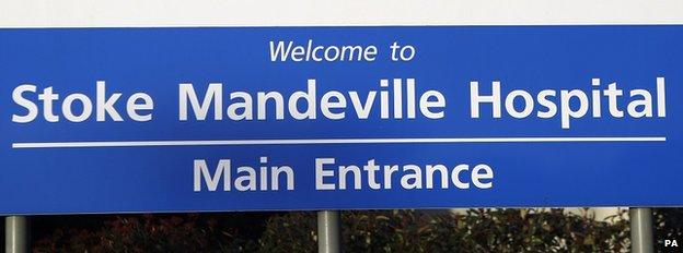 Sign outside Stoke Mandeville Hospital