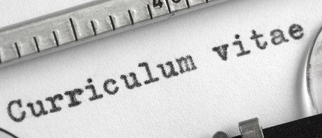 Curriculum vitae typewritten on pace