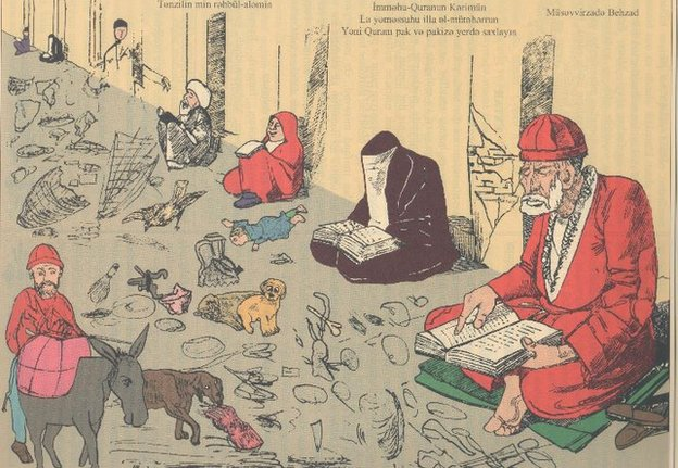 """Keep the Holy Koran in a clean place"" – the cartoon was describing a child, dogs and other creatures treated as dirt vs Koran in peoples' hands."