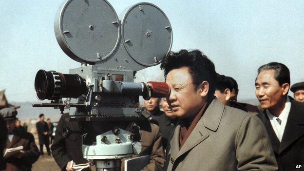Kim Jong-il with a film camera