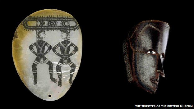 A pearl shell ornament known as a riji or jakuli, left, and a mask made from turtle shells from the Torres Strait Islands