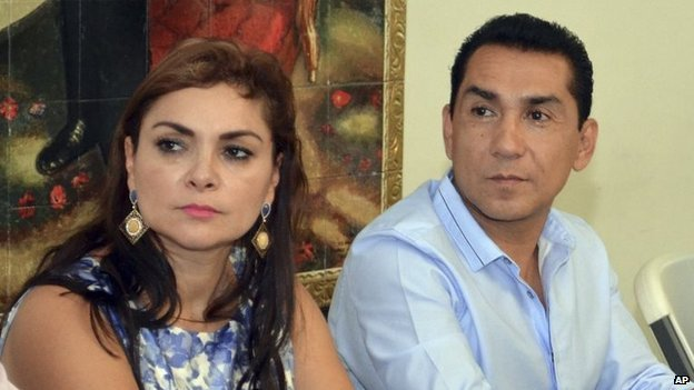 File photo dated 8 May 2014 of Iguala mayor Jose Luis Abarca and his wife Maria de los Angeles Pineda in Chilpancingo, Mexico.