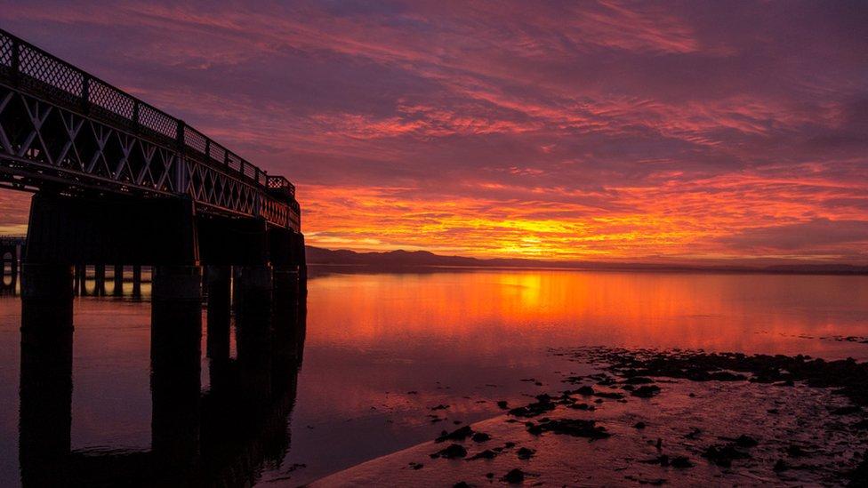 Tay Bridge at sunset