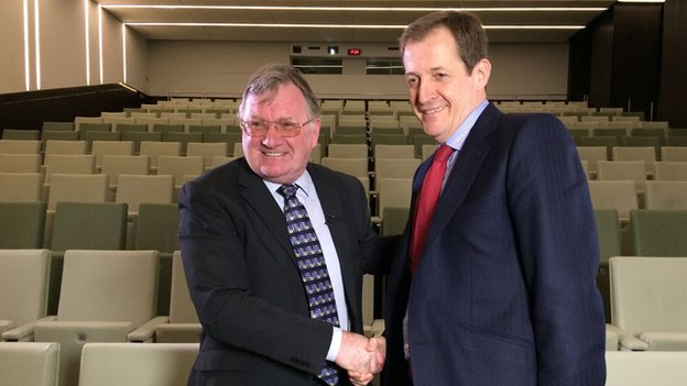 Leighton James with Alastair Campbell