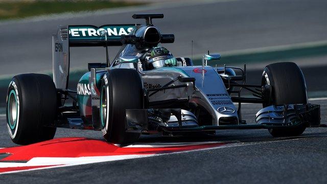 Nico Rosberg drives his Mercedes at the Circuit de Catalunya