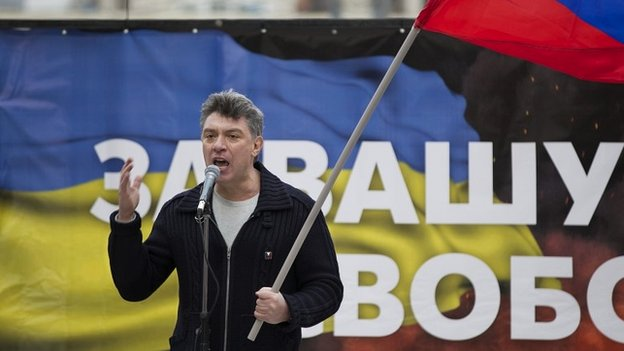Boris Nemtsov addresses the crowd at a rally in Moscow to oppose President Putin's policies in Ukraine - 15 March 2014