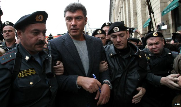 Russian police arrest Boris Nemtsov during a rally in Moscow - 31 August 2010