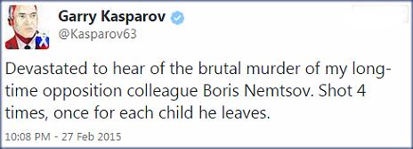 Tweet by Garry Kasparov - 27 February 2015