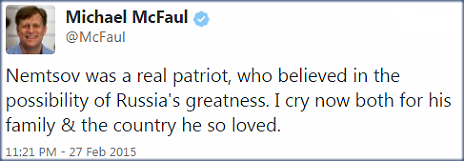 Tweet by Michael McFaul - 27 February 2015