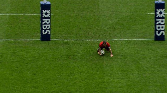 Mark Bennett scores for Scotland