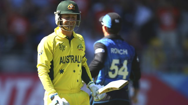 Australia's Michael Clarke reacts after losing his wicket against New Zealand at the Cricket World Cup