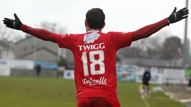 Portadown's Gary Twigg celebrates scoring against Linfield in the Irish Cup