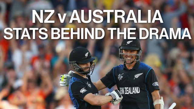 New Zealand players celebrate after their victory over Australia at the Cricket World Cup