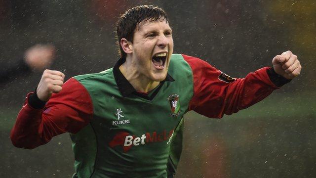 Glentoran's Marcus Kane celebrates his goal against Dungannon in the Irish Cup