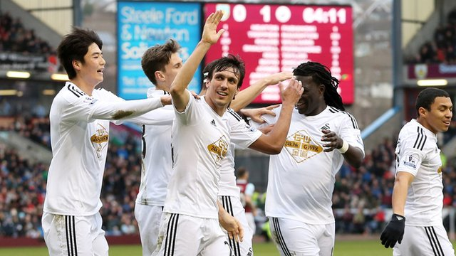 Swansea City players including Jack Cork celebrate after going ahead against Burnley