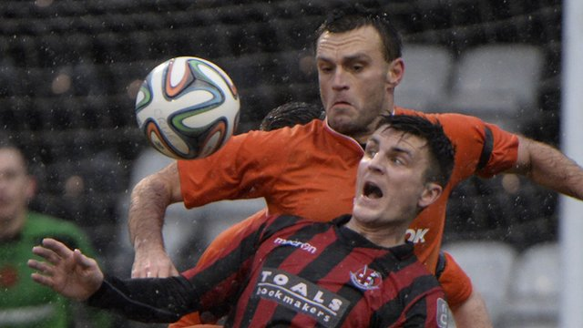 Match action from Crusaders against Carrick Rangers
