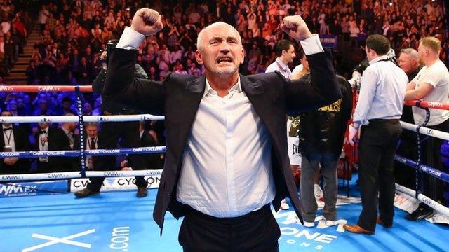 Frampton's manager Barry McGuigan celebrates his win over Chris Avalos