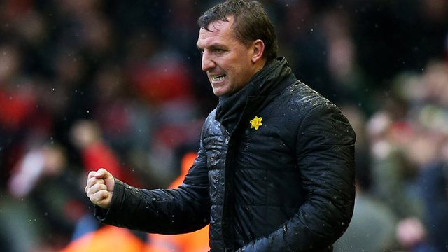 Liverpool manager Brendon Rodgers celebrates victory over Manchester City