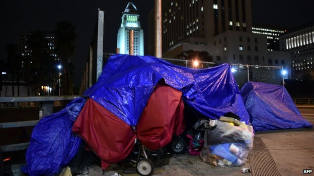 A homeless shelter in Skid Row, Los Angeles, 29 January