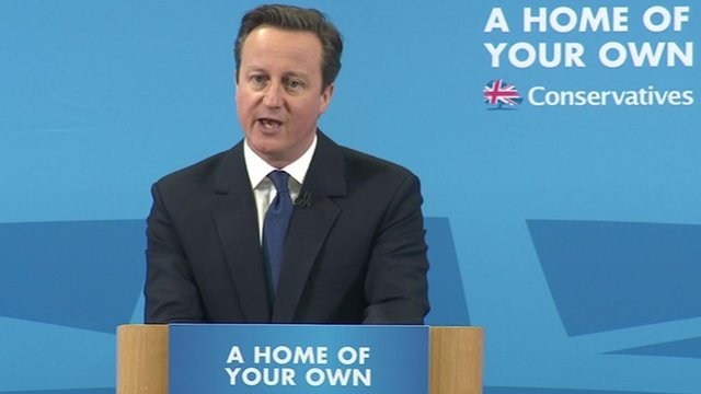 David Cameron speaks during a visit to a building site in Essex