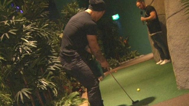 Castleford Tigers' Ben Roberts (l) and Luke Gale play adventure golf