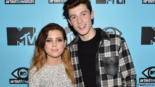Sydney Sierota from Echosmith and singer/songwriter Shawn Mendes