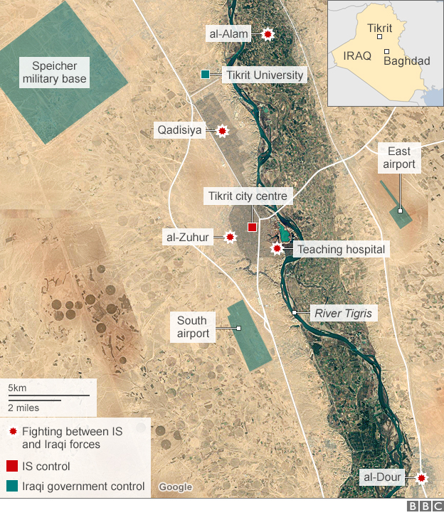 Map showing locations of fighting between Iraqi government forces and Islamic State in and around Tikrit (3 March 2015)