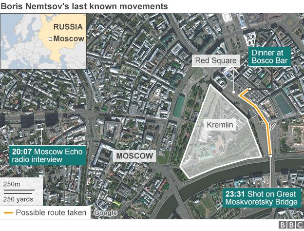 Map of Nemtsov's last known movements
