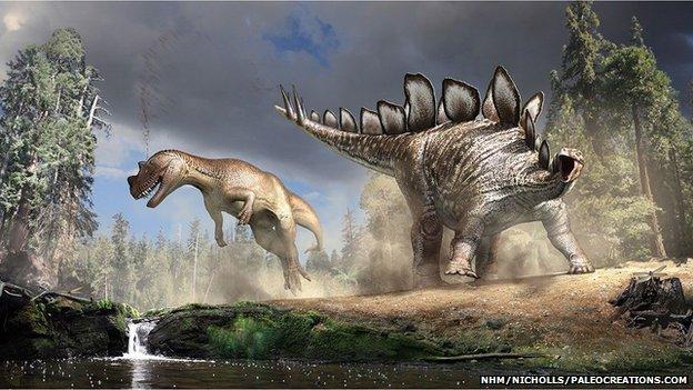 Artist's impression of Stegosaurus and T rex