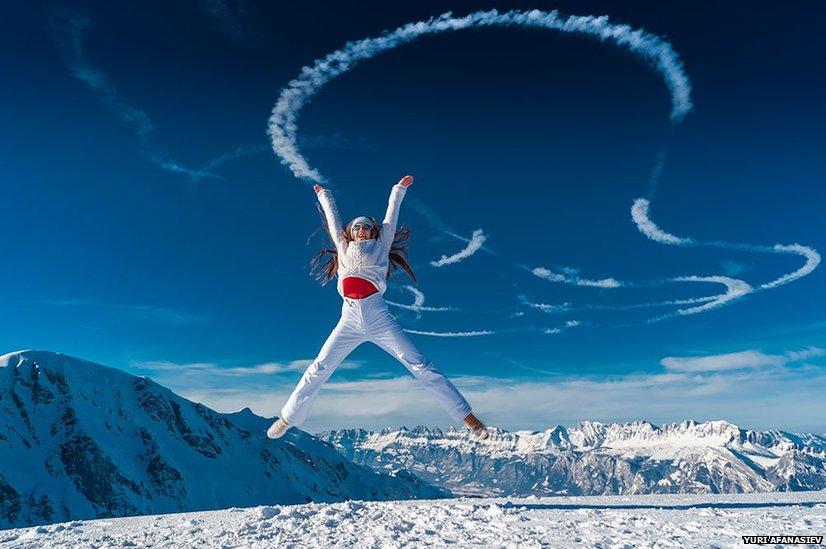 Girl jumping in Switzerland