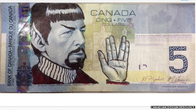 Doodle of Leonard Nimoy on Canadian $5 bill