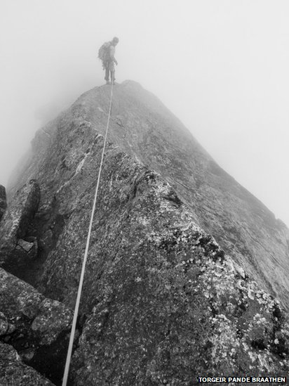 Climber ascending Stetind in northern Norway