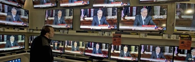 TV broadcast of Mr Netanyahu's speech at an electronics store in Jerusalem, Israel