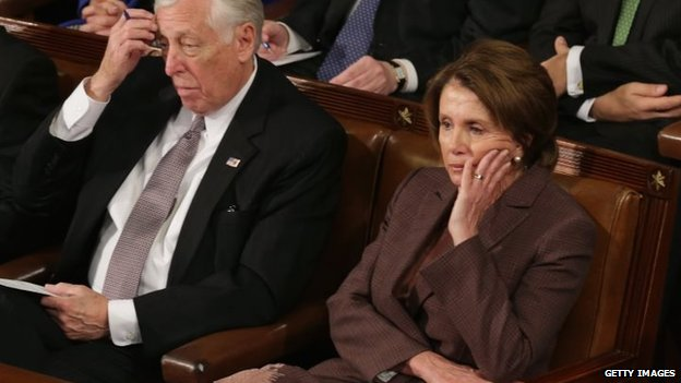 House Minority Leader Nancy Pelosi (right) and House Minority Whip Steny Hoyer listen to Israeli Prime Minister Benjamin Netanyahu speak