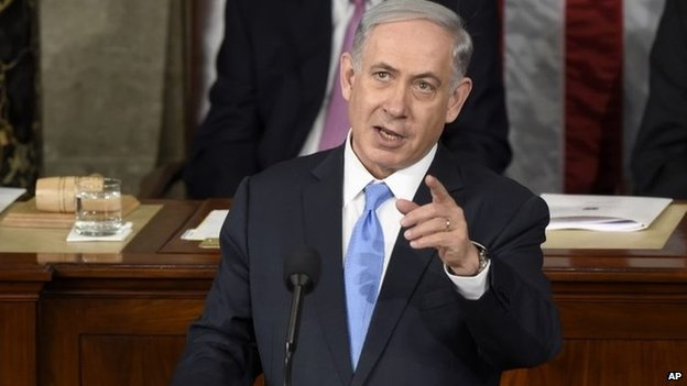 Israeli Prime Minister Benjamin Netanyahu speaks before a joint meeting of Congress on Capitol Hill in Washington 3 March 2015