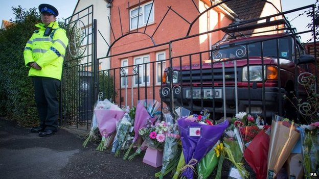 Floral tributes left outside Becky's home in St George, Bristol