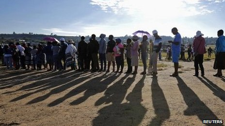 People queuing to vote in Lesotho's elections