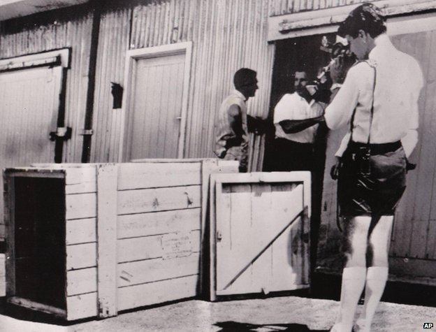The crate Reg Spiers freighted himself in when it was discovered in Perth