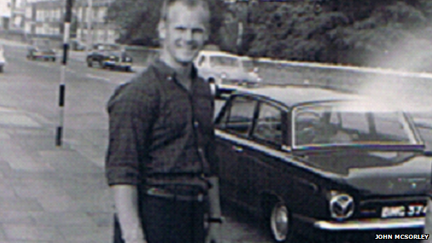 Reg Spiers in London before his freight journey in 1964