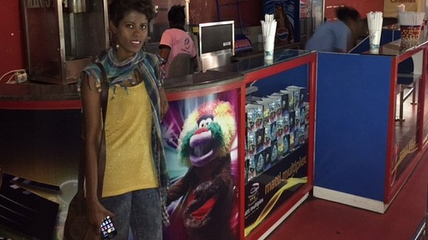 Hermon Hailay at a cinema cafe in Addis Ababa, Ethiopia
