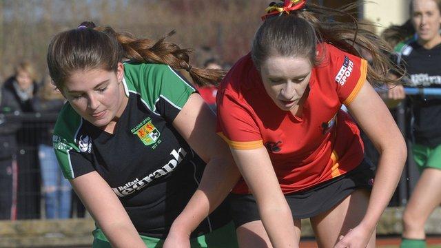 Katherine McKee of Sullivan Upper competes against Banbridge opponent Sarah Russell