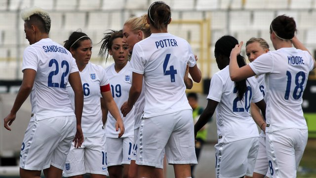 England women celebrate their 3-1 victory over Finland