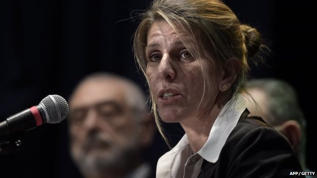 Argentine federal judge Sandra Arroyo Salgado, ex-wife of late prosecutor Alberto Nisman, at a press conference in Buenos Aires, Argentina on 5 March 5 2015