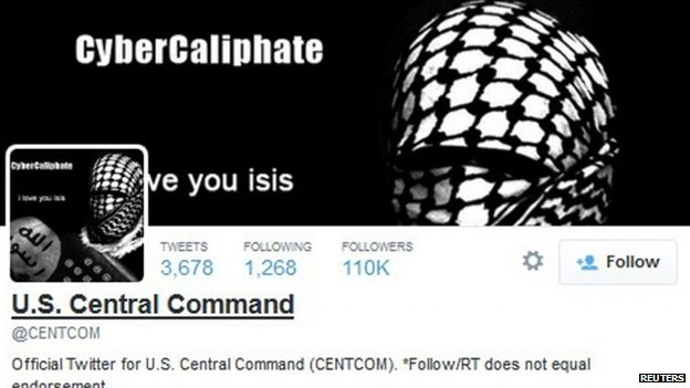 A group claiming to support IS hacked the US Centcom Twitter account
